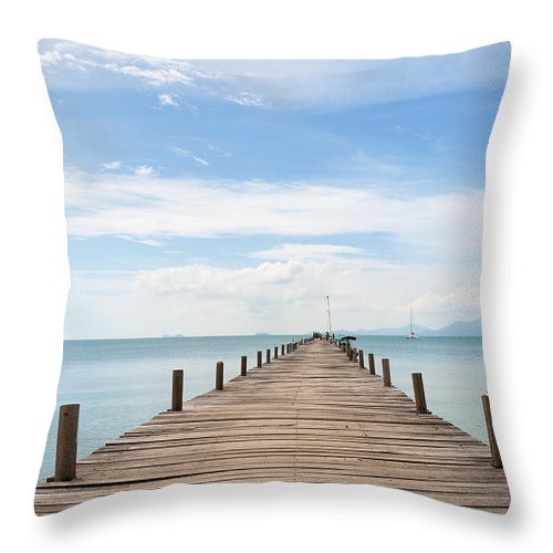Scenics Throw Pillow featuring the photograph Pier On Koh Samui Island In Thailand by Pidjoe