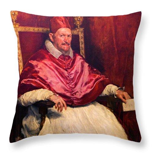 1650 Throw Pillow featuring the photograph Pope Innocent X by Peter Barritt