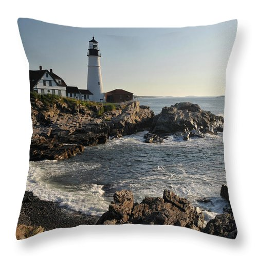 Water's Edge Throw Pillow featuring the photograph Portland Head Light by Aimintang
