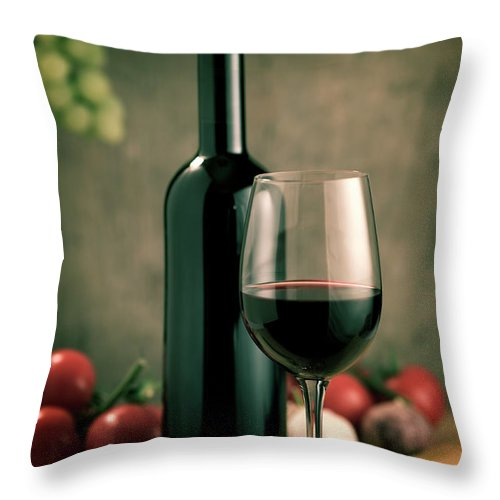 Cheese Throw Pillow featuring the photograph Red Wine And Food, Italian Style by Kontrast-fotodesign