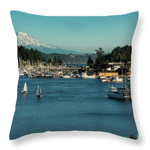 Sailboats At Gig Harbor Marina With Mount Rainier In The Background Throw Pillow featuring the photograph Sailboats At Gig Harbor Marina With Mount Rainier In The Background by Yefim Bam