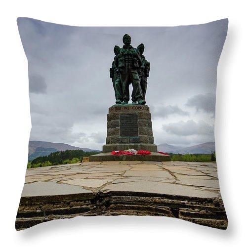 Commando Memorial Throw Pillow featuring the mixed media Scottish Commando Memorial by Smart Aviation