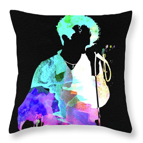 Simply Red Throw Pillow featuring the mixed media Simply Red Watercolor 1 by Naxart Studio