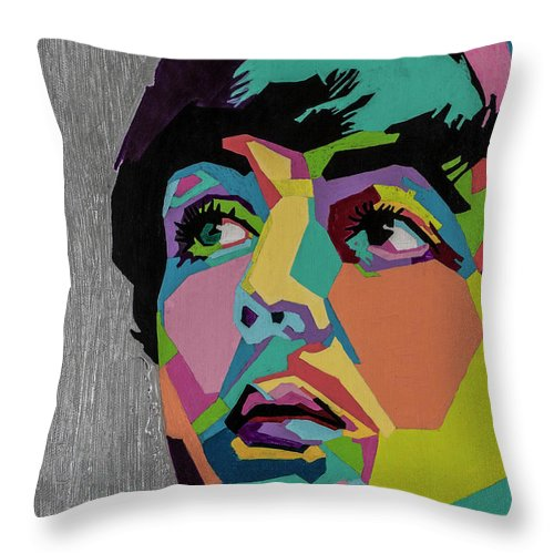 Paul Mccartney Throw Pillow featuring the painting Sir Paul McCartney by Stacie Marie