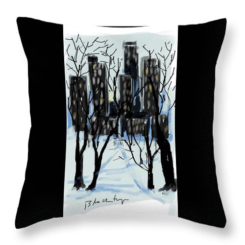 Landscape Snow New York City Park Buildings Throw Pillow featuring the painting Snow Day by Ken Blacktop Gentle
