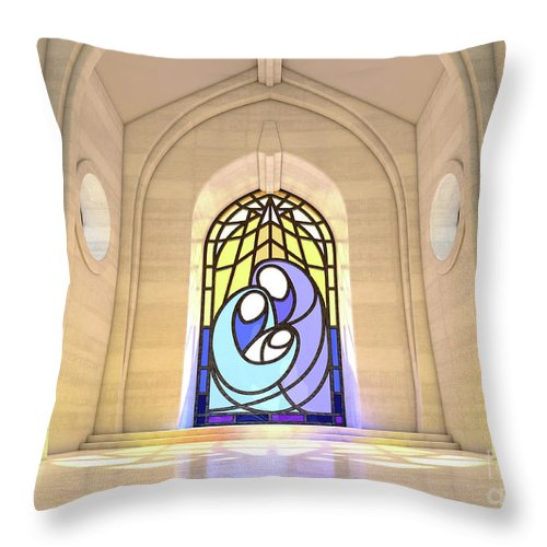 Nativity Throw Pillow featuring the digital art Stained Glass Window Nativity Scene by Allan Swart