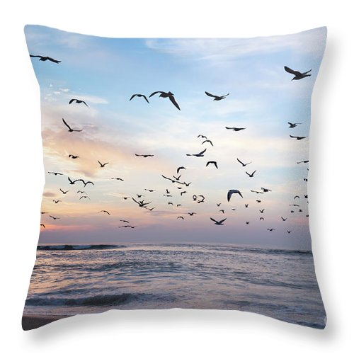 Sunset Throw Pillow featuring the photograph Sunset On The Beach by Hanna Tor