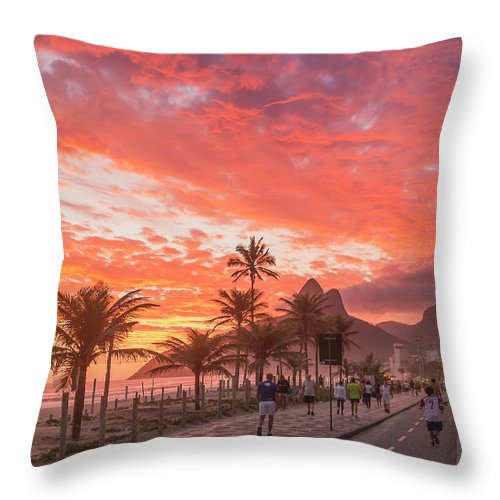 Majestic Throw Pillow featuring the photograph Sunset Over Ipanema Beach by Buena Vista Images