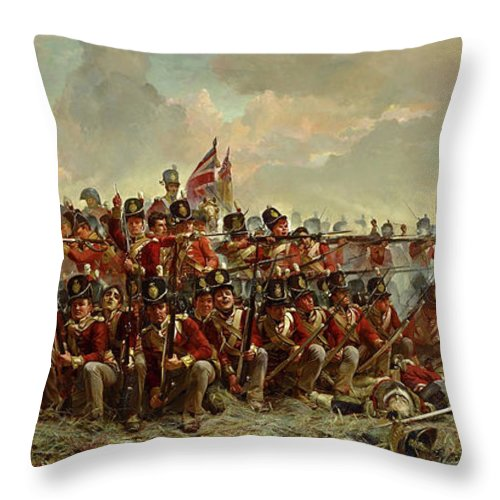 Elizabeth Thompson Throw Pillow featuring the painting The 28th Regiment At Quatre Bras by Elizabeth Butler
