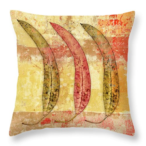 Carol Leigh Throw Pillow featuring the mixed media Three Eucalyptus Leaves by Carol Leigh