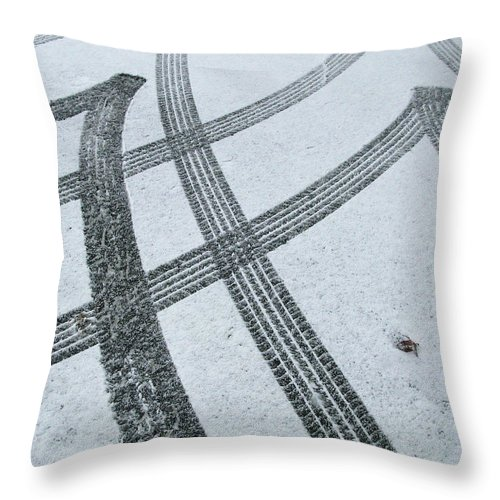 Black Color Throw Pillow featuring the photograph Tire Tracks In Snow, Winter by Jerry Whaley