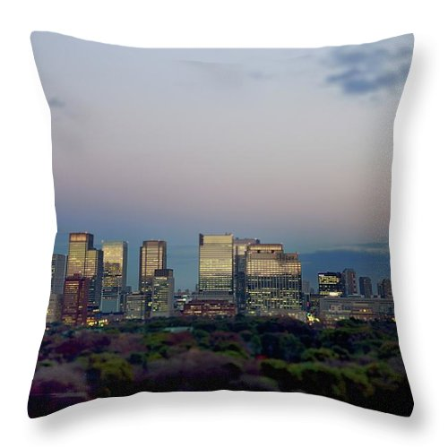 Financial District Throw Pillow featuring the photograph Tokyo Marunouchi by Vladimir Zakharov