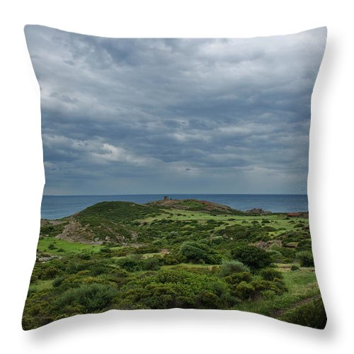 Scenics Throw Pillow featuring the photograph Torre Argentina Promontory by Maremagnum