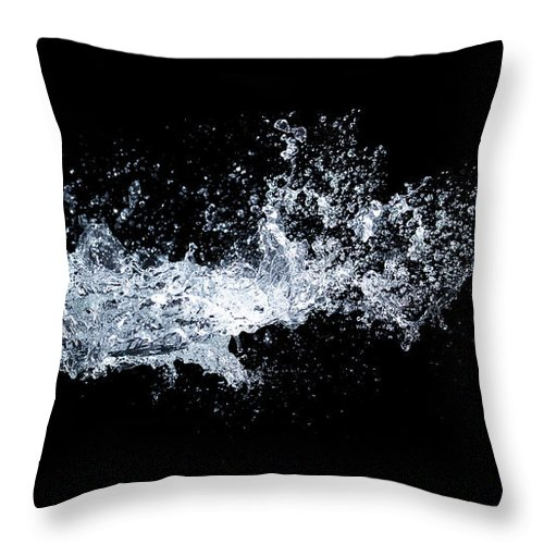 Water Splash In Midair On Black Throw Pillow For Sale By Biwa Studio