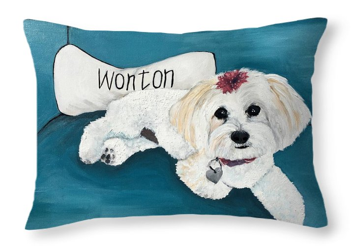 Maltese Throw Pillow featuring the painting Wonton by Judy Swerlick