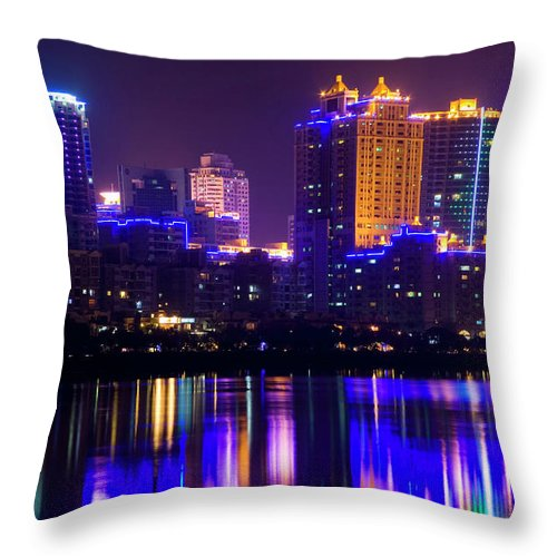 Chinese Culture Throw Pillow featuring the photograph Xiamen,fujian by Best View Stock