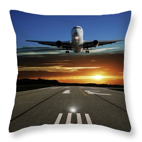 Orange Color Throw Pillow featuring the photograph Xl Jet Airplane Landing At Sunset by Sharply done