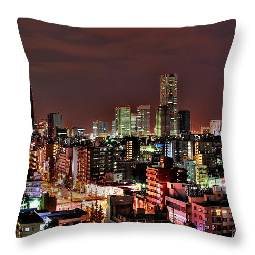 Tranquility Throw Pillow featuring the photograph Yokohama Nightscape by Copyright Artem Vorobiev
