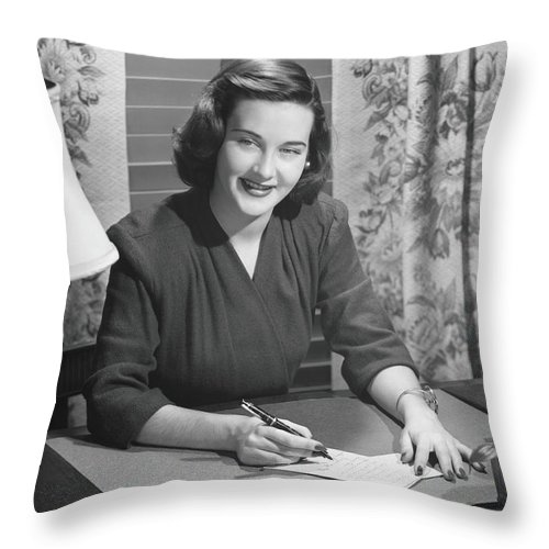 People Throw Pillow featuring the photograph Young Woman Writing Letter At Desk, B&w by George Marks