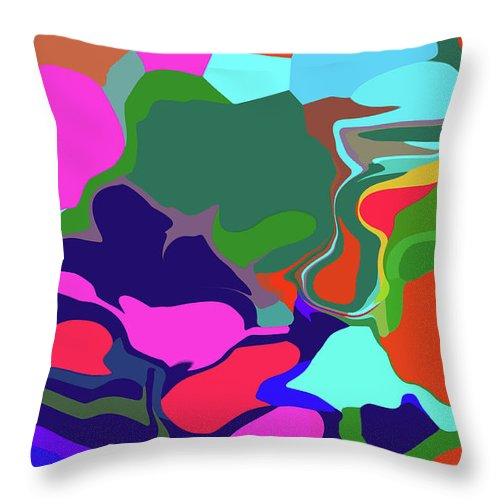 Walter Paul Bebirian Throw Pillow featuring the digital art 10-19-2008abc by Walter Paul Bebirian