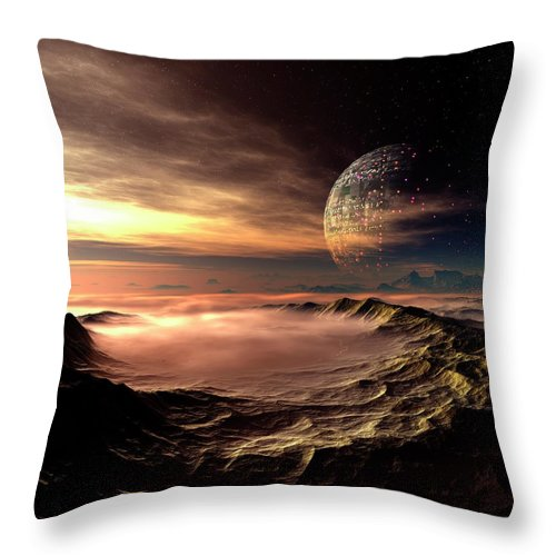 Concepts & Topics Throw Pillow featuring the digital art Alien Planet, Artwork by Mehau Kulyk
