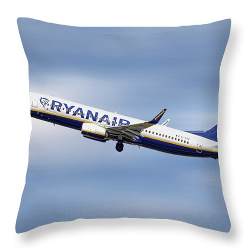 Ryanair Throw Pillow featuring the mixed media Ryanair Boeing 737-8as by Smart Aviation