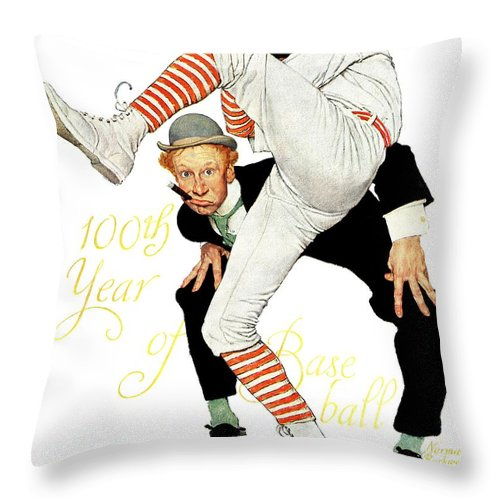Anniversaries Throw Pillow featuring the drawing 100th Anniversary Of Baseball by Norman Rockwell