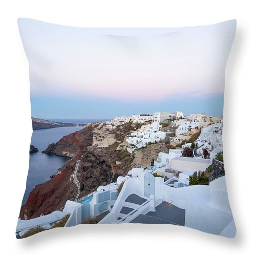 Tranquility Throw Pillow featuring the photograph Santorini Greece by Neil Emmerson