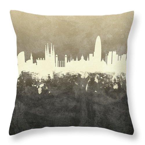 Barcelona Throw Pillow featuring the digital art Barcelona Spain Skyline by Michael Tompsett