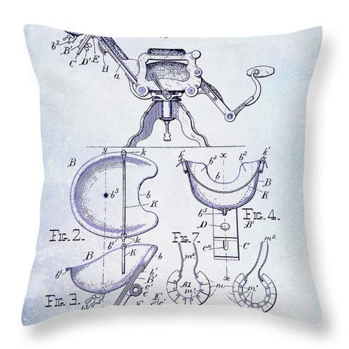Barber Chair Patent Drawing Blueprint Throw Pillow featuring the photograph 1896 Barbers Chair Patent Blueprint by Jon Neidert