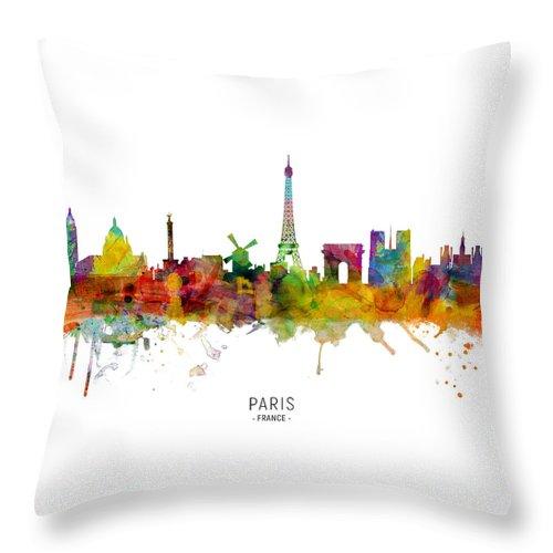 Paris Throw Pillow featuring the digital art Paris France Skyline by Michael Tompsett