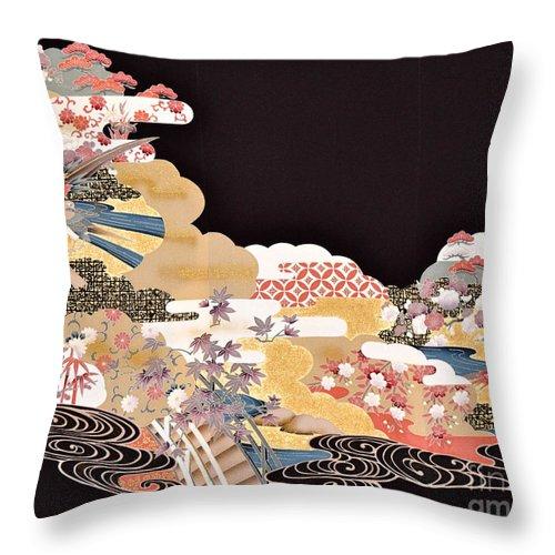Throw Pillow featuring the digital art Spirit of Japan T65 by Miho Kanamori