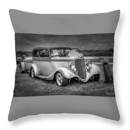 2019 Throw Pillow featuring the digital art 1933 Ford Tudor Sedan With Trailer by Ken Morris