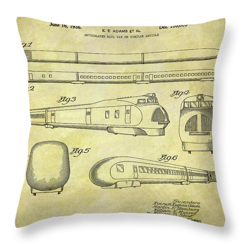 1935 Union Pacific Train Patent Throw Pillow featuring the drawing 1935 Union Pacific Train Patent by Dan Sproul