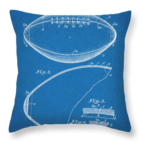 1936 Reach Football Patent Print Throw Pillow featuring the drawing 1936 Reach Football Blueprint Patent Print by Greg Edwards