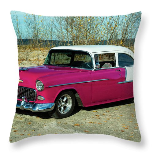 Car Throw Pillow featuring the photograph 1955 Chevrolet 150 by Performance Image
