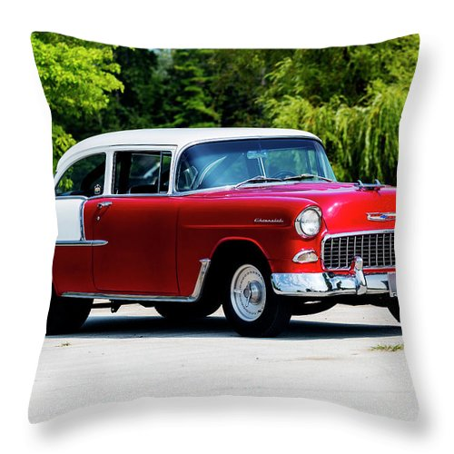 1955 Throw Pillow featuring the photograph 1955 Chevrolet Bel Air by Performance Image