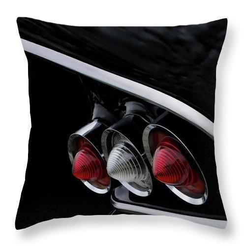 Chevy Throw Pillow featuring the digital art 1958 Chevrolet Impala Tailfin by Douglas Pittman