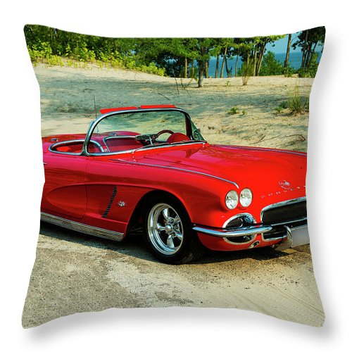 1962 Throw Pillow featuring the photograph 1962 Corvette Roadster Custom by Performance Image