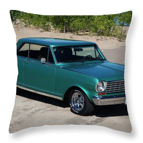 1963 Throw Pillow featuring the photograph 1963 Chevrolet Nova Ss by Performance Image