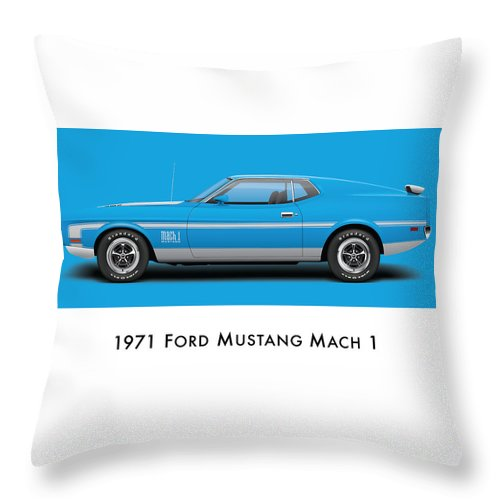 1970 Throw Pillow featuring the digital art 1971 Ford Mustang Mach 1 - Grabber Blue Ver.2 by Ed Jackson