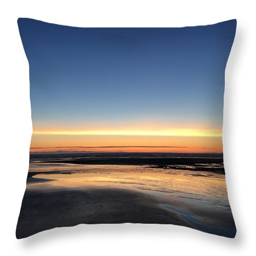 Throw Pillow featuring the photograph Beach Sunset, Blackpool, Uk 09/2017 by Michael Kane