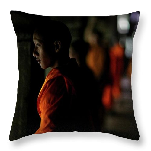 People Throw Pillow featuring the photograph Buddhist Monks At Angkor Wat Temple by Timothy Allen