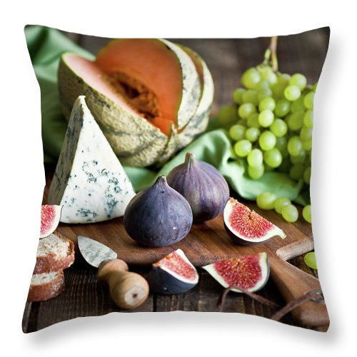 Large Group Of Objects Throw Pillow featuring the photograph Cheese Board by Verdina Anna