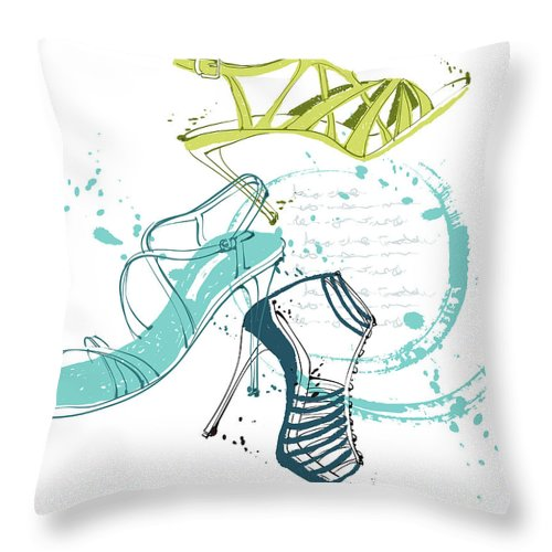 White Background Throw Pillow featuring the digital art Feminine Shoes by Eastnine Inc.