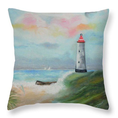Lighthouse Throw Pillow featuring the painting Hickering Harbor by Lynne Messeck