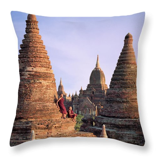 Child Throw Pillow featuring the photograph Myanmar, Bagan, Buddhist Monks On Temple by Martin Puddy