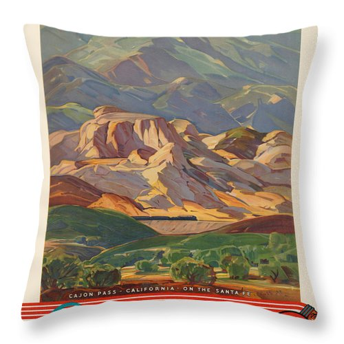 Advertisement Throw Pillow featuring the painting Vintage Poster - California by Vintage Images