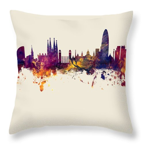 Barcelona Throw Pillow featuring the digital art Barcelona Spain Skyline by Michael Tompsett