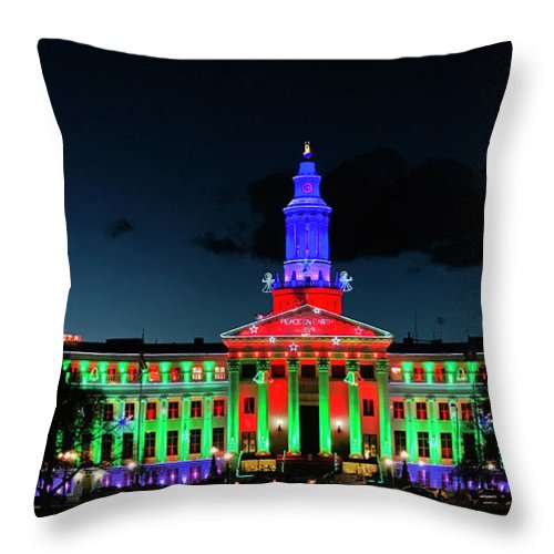 Current Throw Pillow featuring the photograph 2019 Civic Center Denver by Marilyn Hunt